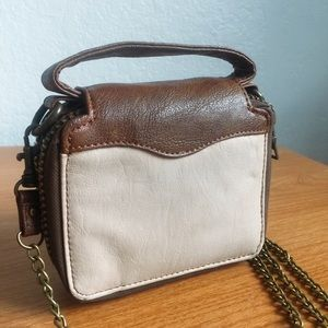 Urban Outfitters Brown Taupe Double Zip Crossbody